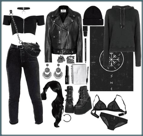 Black jeans with belt