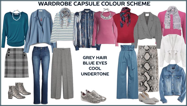 wardrobe capsule colour blue eyes grey hair cool