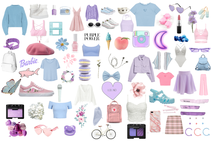 blue pink white purple aesthetic