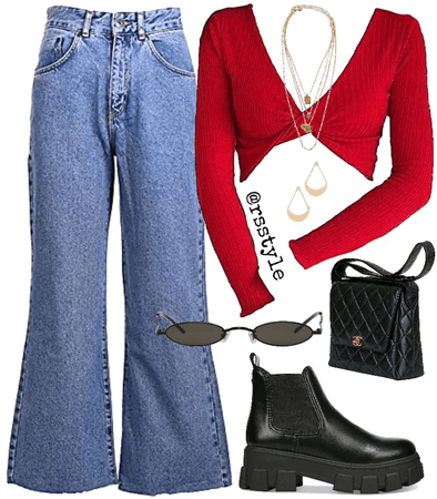 Red casual outfit