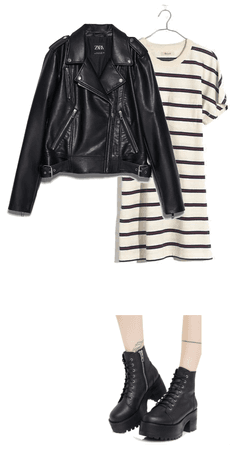 Striped and leather