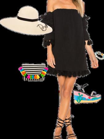 Black dress + colorful accessories