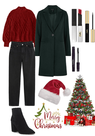 red and green outfit for christmas 😌