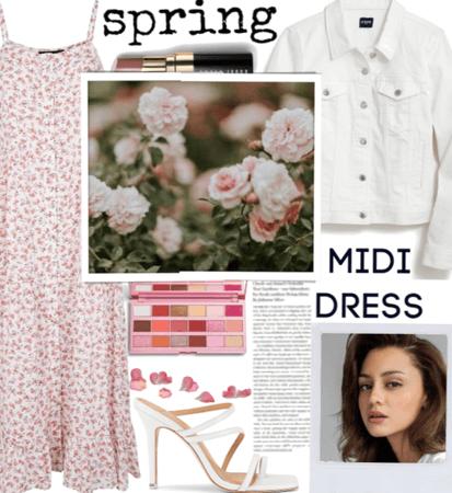 Pink  and white midi dress