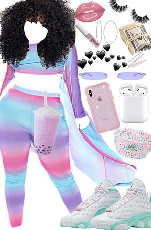 blue pink and purple baddie 💜💗💙🤍