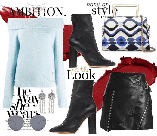 Light Blue Sweater & Leather.