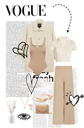 Beige/White Outfit