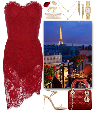 red lace dress & gold jewelry for a romantic date in Paris