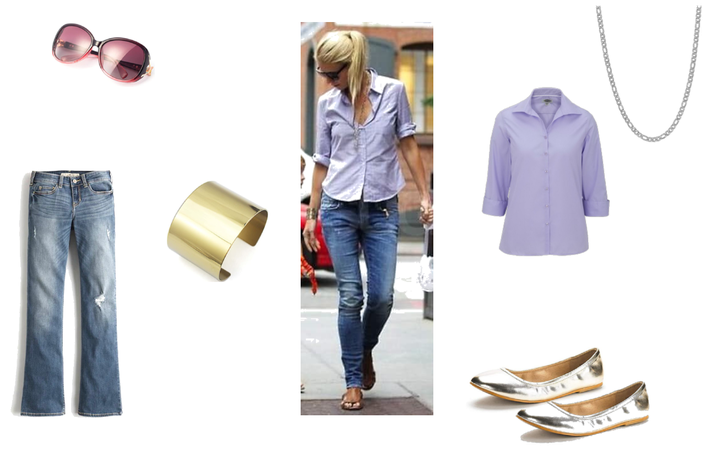 Casual Mom Outfit, Jeans/Blouse/Flats/Bracelet