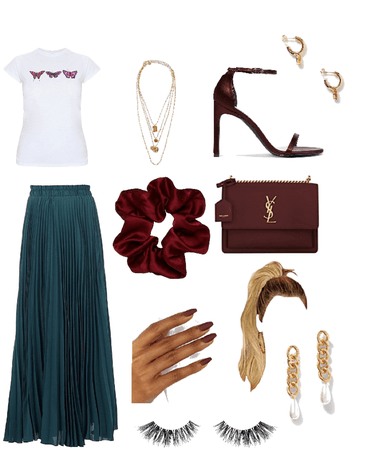 Burgundy and teal