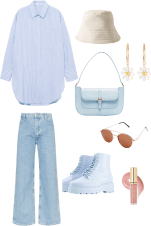 blue and white ootd