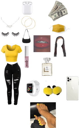 black and yellow outfit theme