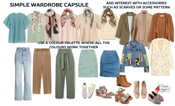 Simple wardrobe capsule in Intriguing colours