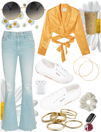 Jeans and a Cute Top Yellow Sunflower