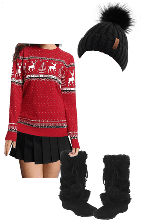 Christmas Sweater, Miniskirt, Pom Pom Boots+Hat