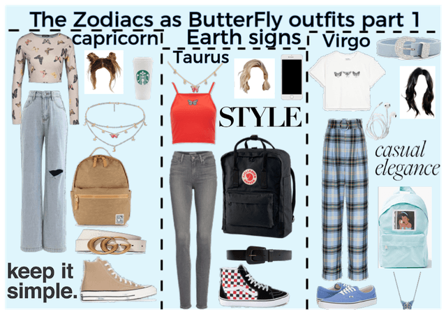 The zodiacs as Butterfly outfits part 1 Earth sign