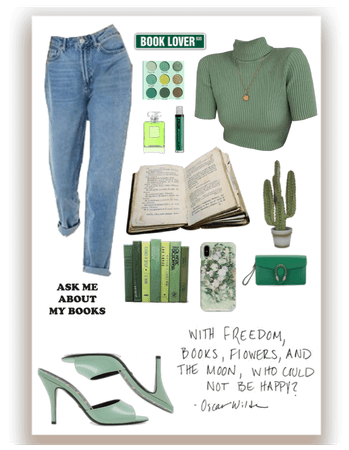 book lover :) #Green #Aesthetic #OOTD