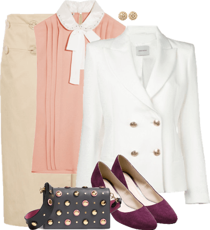 Sleeveless Bow Tie Blouse with Pencil Skirt and Blazer