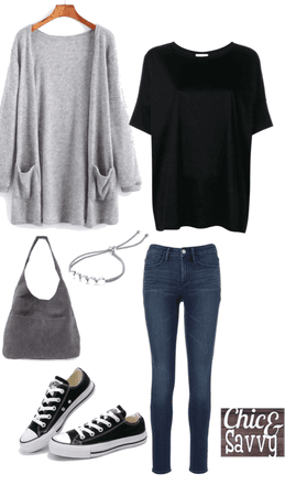 jeans and black tee casual