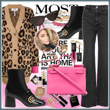 Pink,black,leopard