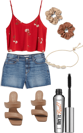 summer red and brown outfit