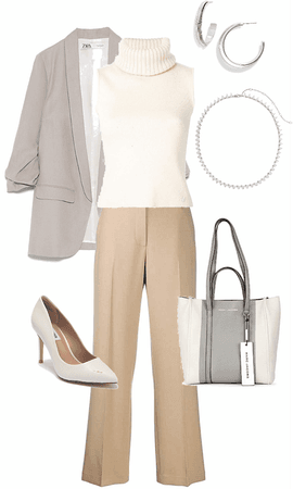 gray camel and ivory