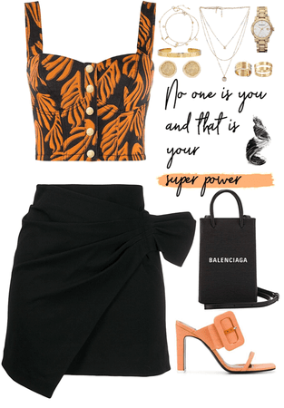 Black & Orange look with gold jewelry