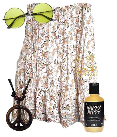 Plus Size Floral Hippie Skirt