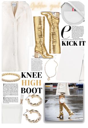 KNEE HIGH BOOTS: Golden Girl