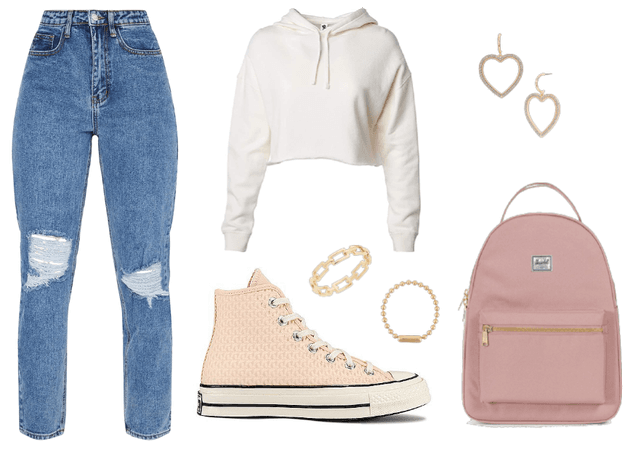 Simple minimalist neutral color outfit trendy