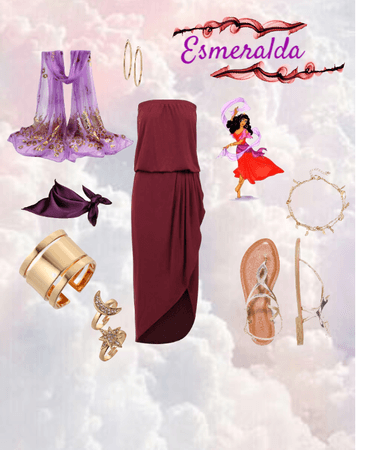 Esmeralda's red dress Disney bound