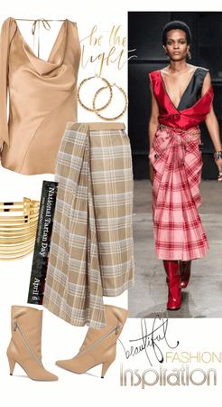 Satin Top & Tartan Skirt