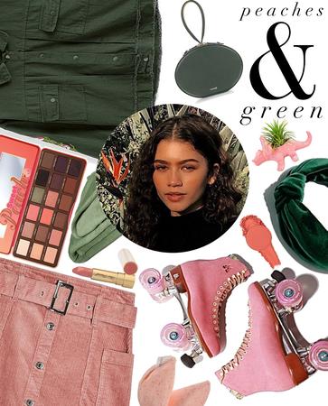 Peach Pink + Pine Green: Peaches & Green