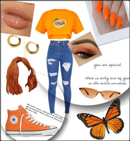 orange outfit (ootd?)