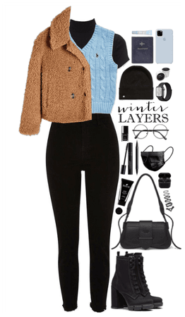 Winter Layer. Black + blue vest