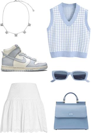 Blue aesthetic preppy oufit idea