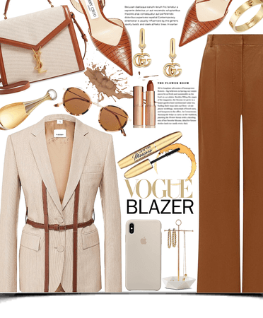 brown blazer set