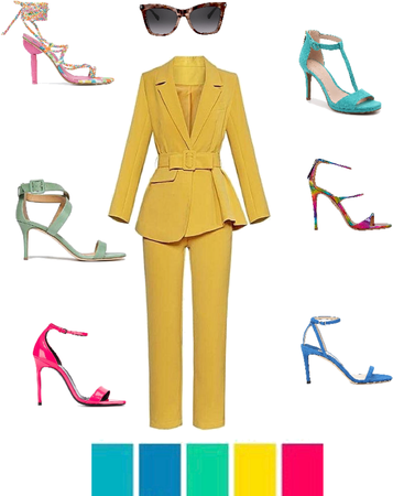 Yellow suit with vibrant shoes