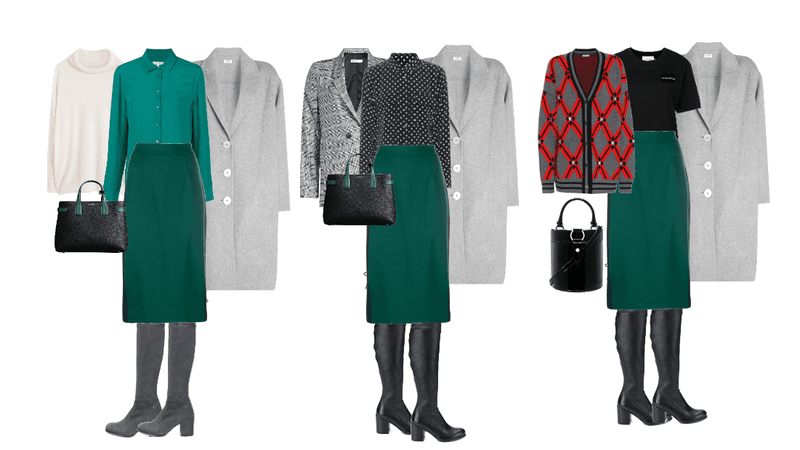outfits with green pencil skirt