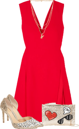 Bright as you in the red dress