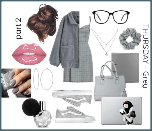 study hard // Monochromatic outfit - GREY prt2