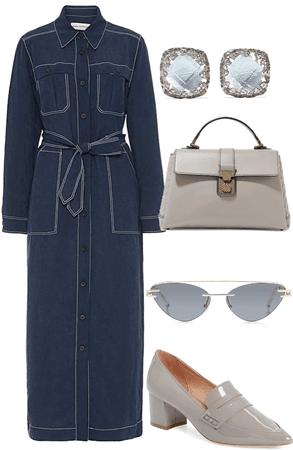 navy top stitch dress