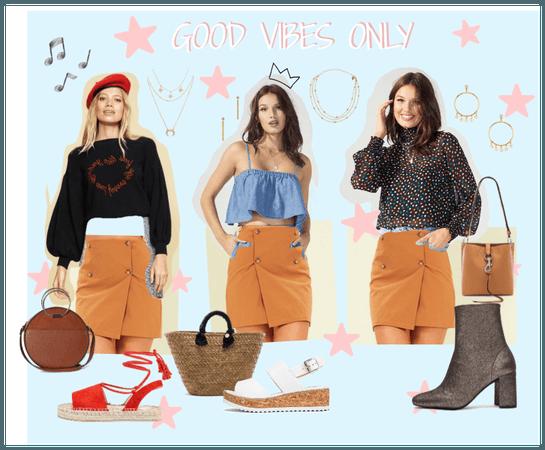 minkpink skirt - good vibes only