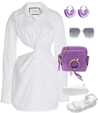 white and lavender outfit