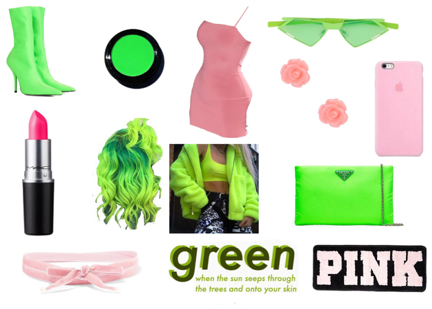 Green and pink outfit