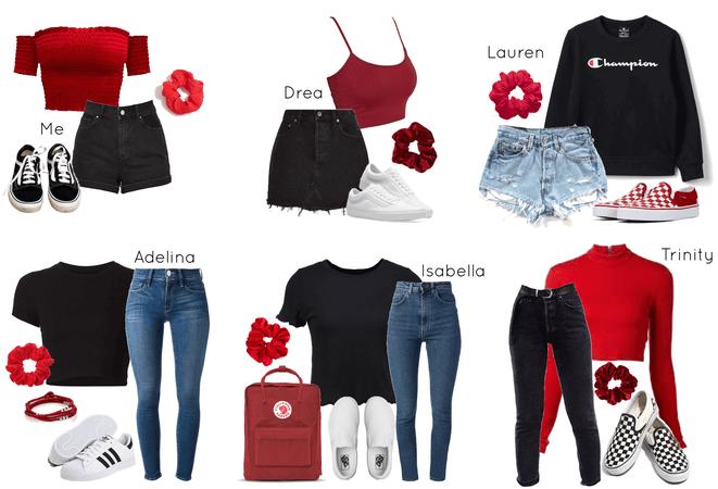 red, black, and denim
