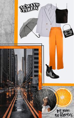 Orange, Black and White rain outfit