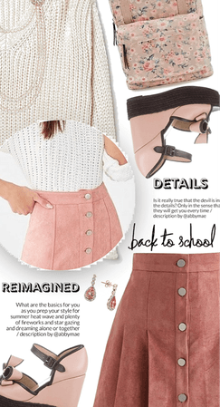 How To Wear A Suede Pink Miniskirt And White Sweater For School