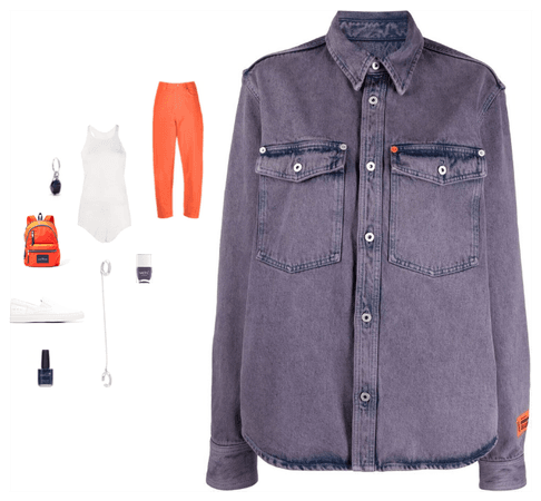 Heron Preston-Purple Faded Denim Shirt Style
