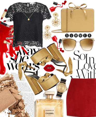 Red Skirt + Gold Clutch.